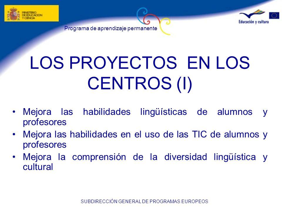 Programa de aprendizaje permanente SUBDIRECCIÓN GENERAL DE PROGRAMAS EUROPEOS LOS PROYECTOS EN LOS CENTROS (I) Mejora las habilidades lingüísticas de