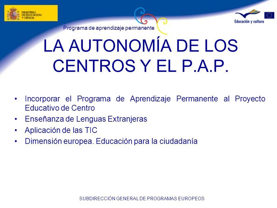 Programa de aprendizaje permanente SUBDIRECCIÓN GENERAL DE PROGRAMAS EUROPEOS LA AUTONOMÍA DE LOS CENTROS Y EL P.A.P. Incorporar el Programa de Aprend