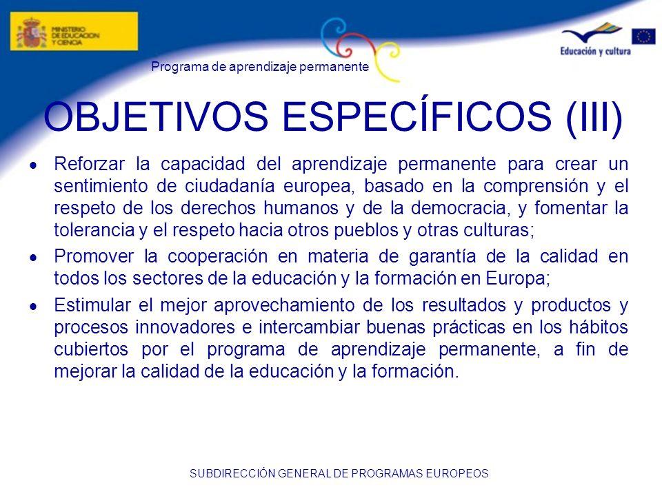 Programa de aprendizaje permanente SUBDIRECCIÓN GENERAL DE PROGRAMAS EUROPEOS LOS PROYECTOS EN LOS CENTROS (III) Favorece la cooperación entre el profesorado Refuerza el apoyo de la dirección del centro Incrementa la participación de los padres Favorece la participación de otras entidades locales