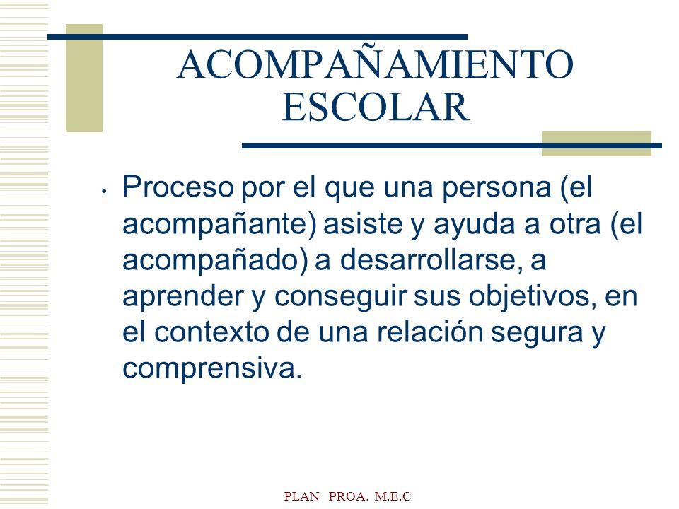 PLAN PROA. M.E.C ACOMPAÑAMIENTO ESCOLAR Proceso por el que una persona (el acompañante) asiste y ayuda a otra (el acompañado) a desarrollarse, a apren