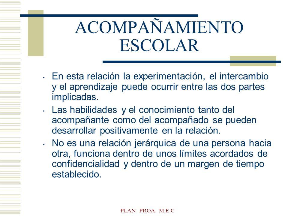 PLAN PROA. M.E.C ACOMPAÑAMIENTO ESCOLAR En esta relación la experimentación, el intercambio y el aprendizaje puede ocurrir entre las dos partes implic