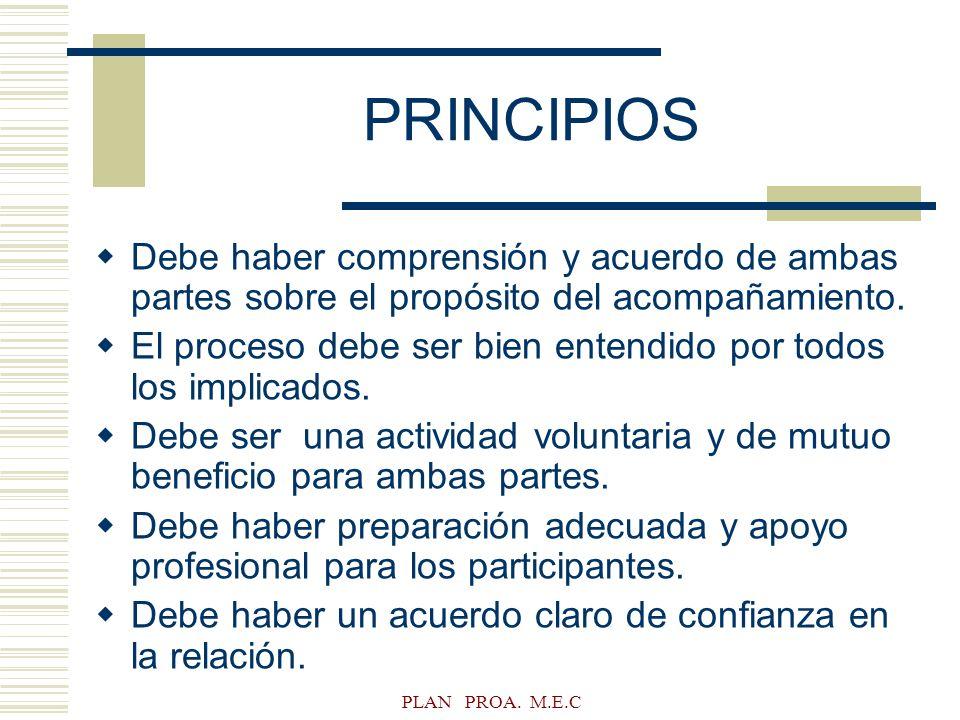 PLAN PROA. M.E.C PRINCIPIOS Debe haber comprensión y acuerdo de ambas partes sobre el propósito del acompañamiento. El proceso debe ser bien entendido