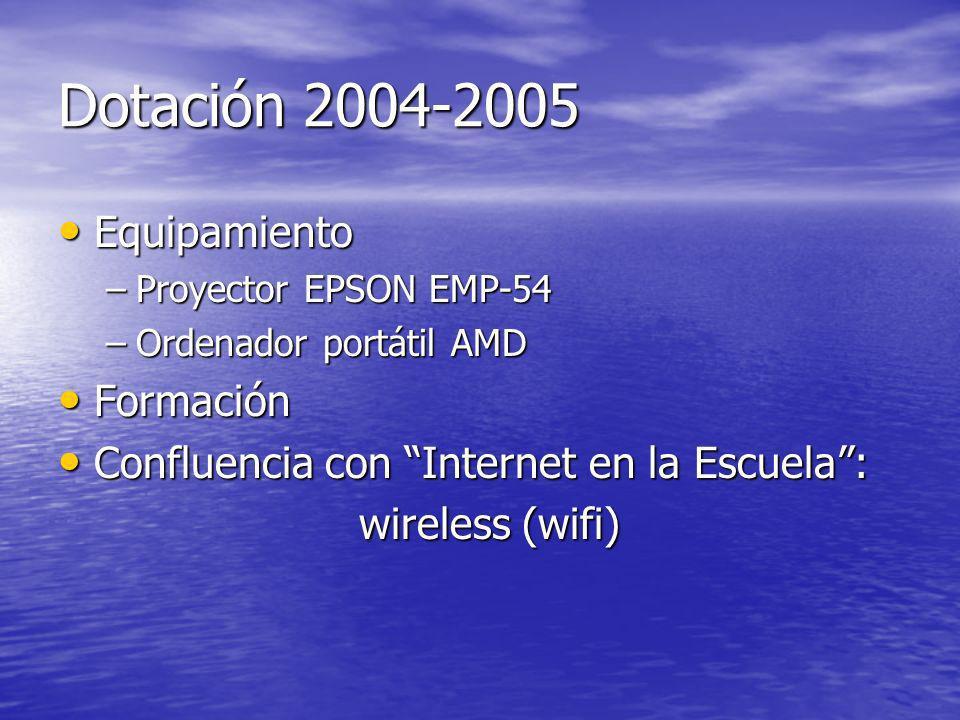 Dotación 2004-2005 Equipamiento Equipamiento –Proyector EPSON EMP-54 –Ordenador portátil AMD Formación Formación Confluencia con Internet en la Escuela: Confluencia con Internet en la Escuela: wireless (wifi) wireless (wifi)