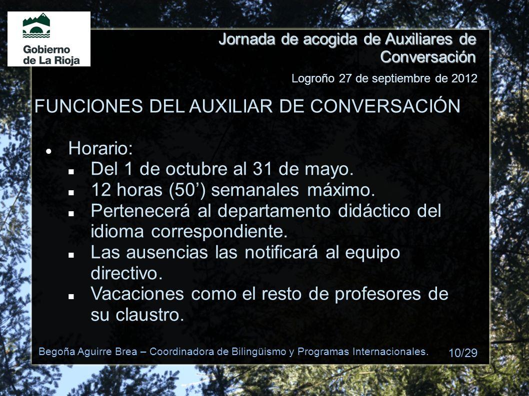 Jornada de acogida de Auxiliares de Conversación FUNCIONES DEL AUXILIAR DE CONVERSACIÓN Horario: Del 1 de octubre al 31 de mayo. 12 horas (50) semanal