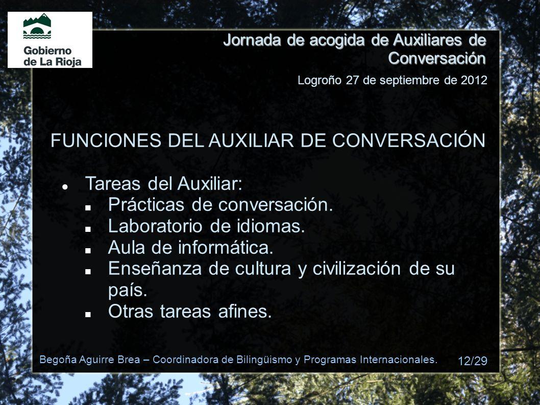 Jornada de acogida de Auxiliares de Conversación FUNCIONES DEL AUXILIAR DE CONVERSACIÓN Tareas del Auxiliar: Prácticas de conversación. Laboratorio de