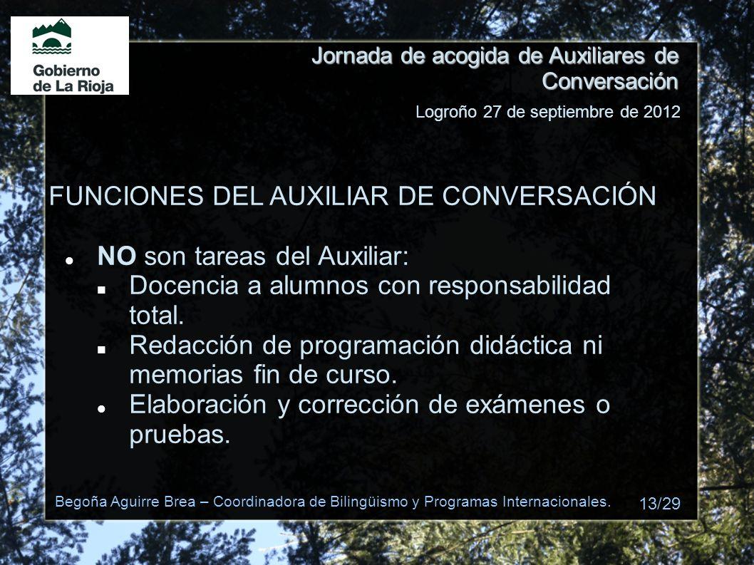 Jornada de acogida de Auxiliares de Conversación FUNCIONES DEL AUXILIAR DE CONVERSACIÓN NO son tareas del Auxiliar: Docencia a alumnos con responsabil