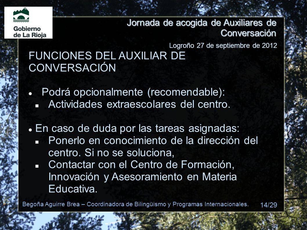 Jornada de acogida de Auxiliares de Conversación FUNCIONES DEL AUXILIAR DE CONVERSACIÓN Podrá opcionalmente (recomendable): Actividades extraescolares