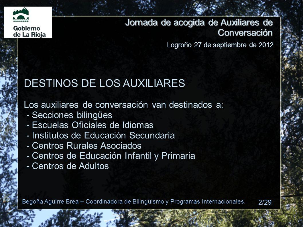 Jornada de acogida de Auxiliares de Conversación DESTINOS DE LOS AUXILIARES Los auxiliares de conversación van destinados a: - Secciones bilingües - E