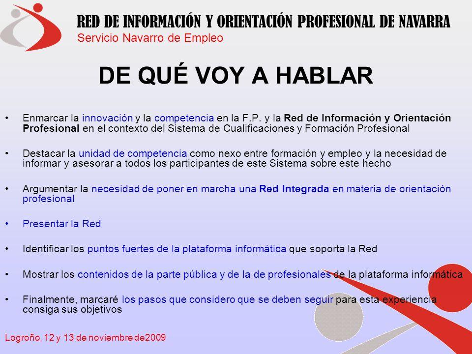 Servicio Navarro de Empleo RED DE INFORMACIÓN Y ORIENTACIÓN PROFESIONAL DE NAVARRA Logroño, 12 y 13 de noviembre de2009 INNOVACIÓN Y COMPETENCIA EN LA F.