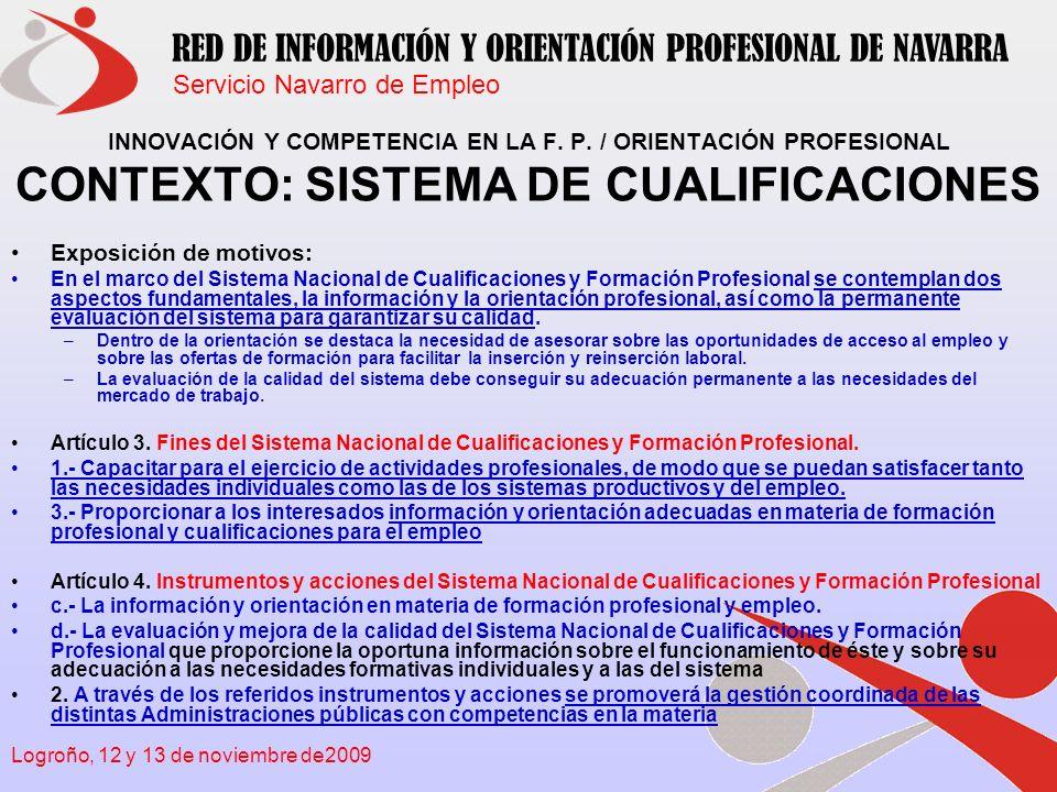 Servicio Navarro de Empleo RED DE INFORMACIÓN Y ORIENTACIÓN PROFESIONAL DE NAVARRA Logroño, 12 y 13 de noviembre de2009 UNIDAD DE COMPETENCIA NEXO DE UNIÓN ENTRE LA F.P.