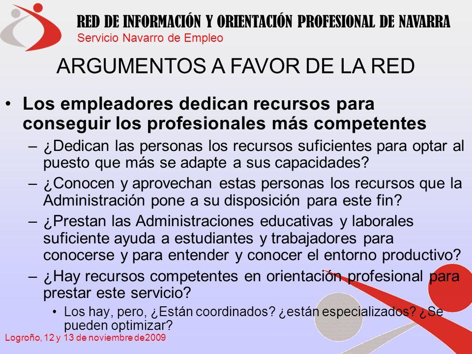Servicio Navarro de Empleo RED DE INFORMACIÓN Y ORIENTACIÓN PROFESIONAL DE NAVARRA Logroño, 12 y 13 de noviembre de2009 Los sistemas de la F.P.