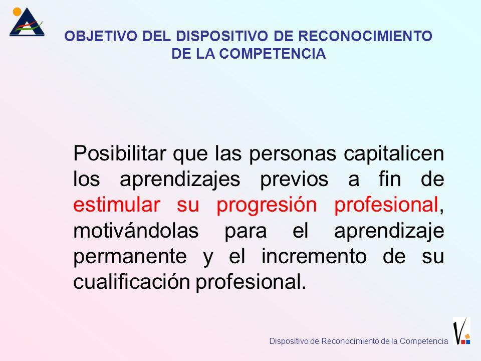 DISPOSITIVO DE RECONOCIMIENTO DE LA COMPETENCIA El Dispositivo de Reconocimiento de la Competencia, es una estructura operativa, cuyos procedimientos tienen la finalidad de evaluar la competencia profesional de la población activa, adquirida a través de la experiencia laboral y los aprendizajes no formales.