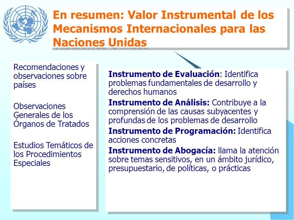 Programación informada por los mecanismos de Derechos Humanos Observaciones de Órganos de Tratados & Procedimientos Especiales: Análisis de temas del
