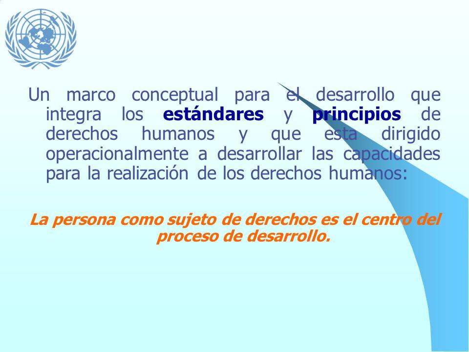 El proceso de desarrollo se basa en estándares y principios internacionales de derechos humanos. Reconoce a los seres humanos como titulares de derech