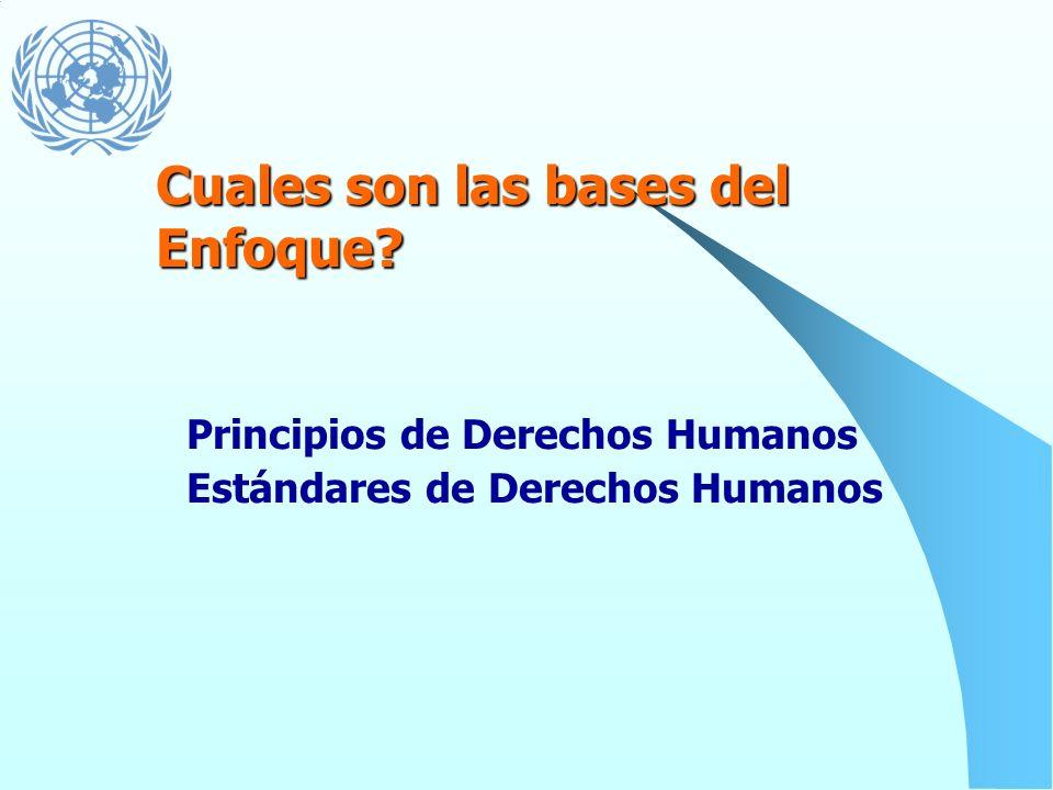Un marco conceptual para el desarrollo que integra los estándares y principios de derechos humanos y que esta dirigido operacionalmente a desarrollar
