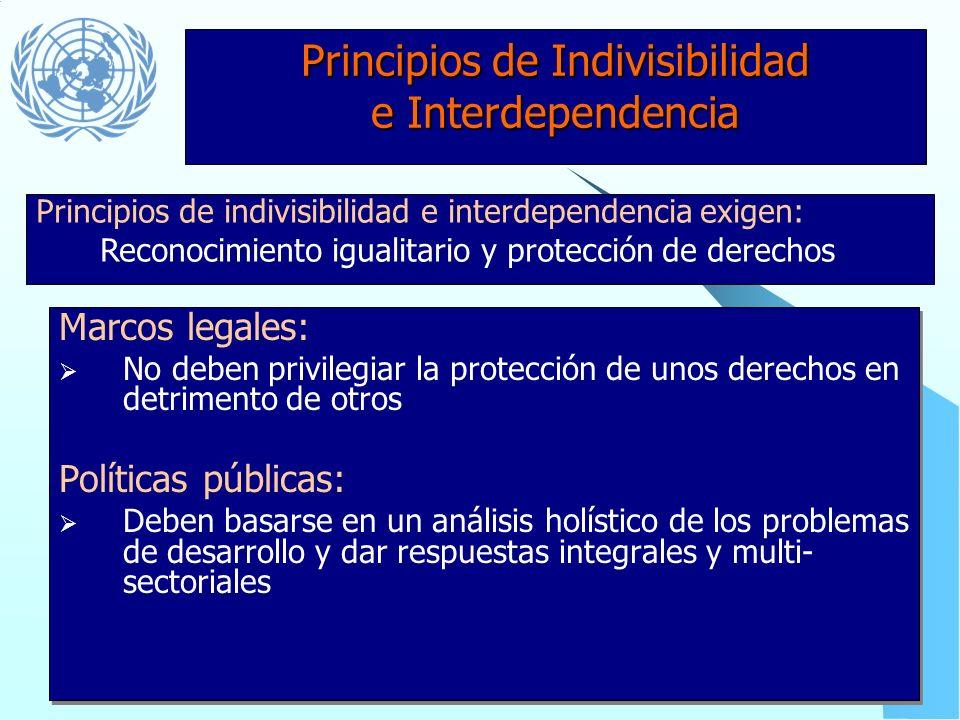 Principios de Universalidad e Inalienabilidad Políticas públicas y programas deben tener : Datos desagregados para identificar casos de exclusión y di