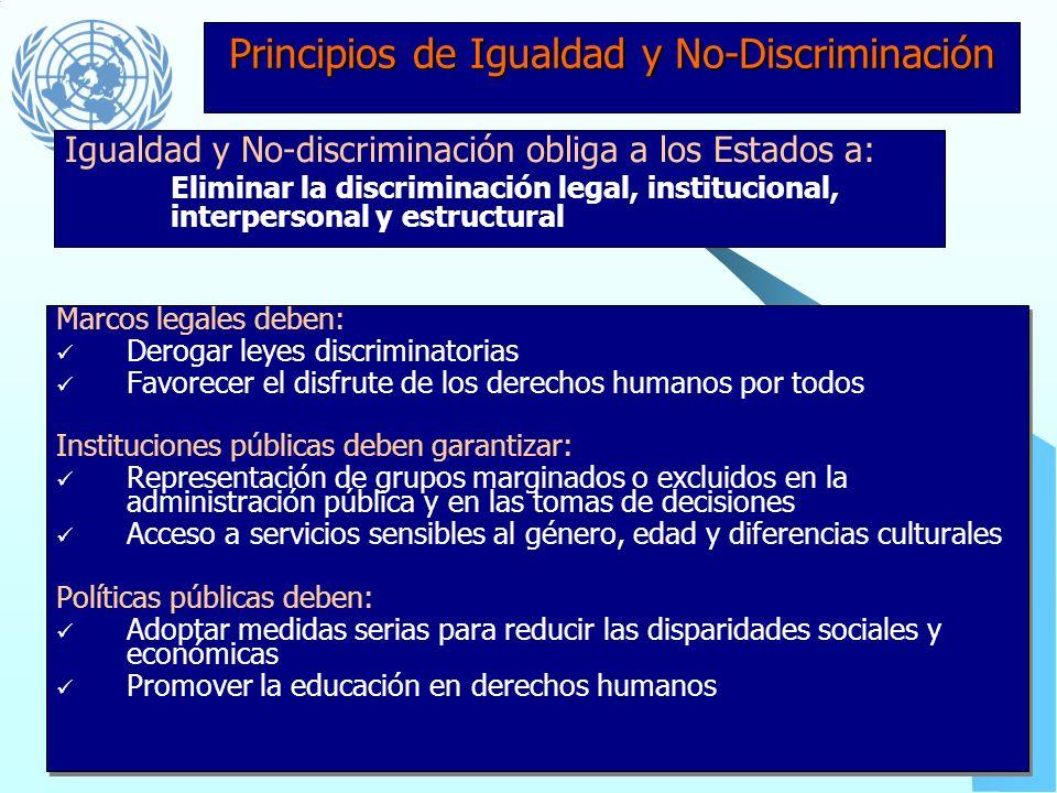 Principios de Indivisibilidad e Interdependencia Marcos legales: No deben privilegiar la protección de unos derechos en detrimento de otros Políticas