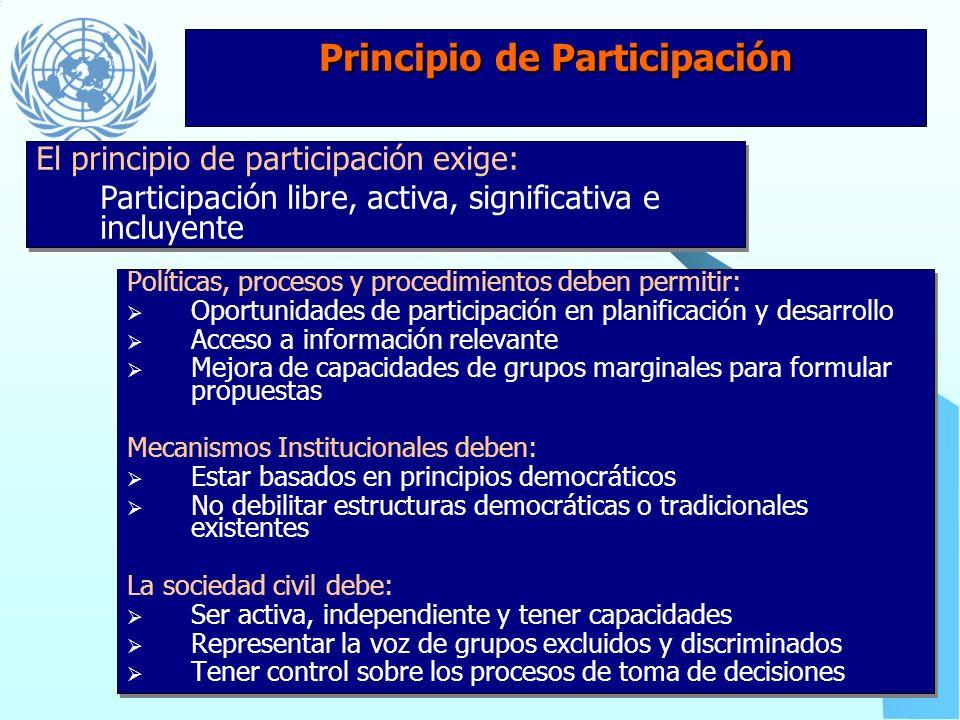 Principios de Igualdad y No-Discriminación Marcos legales deben: Derogar leyes discriminatorias Favorecer el disfrute de los derechos humanos por todo