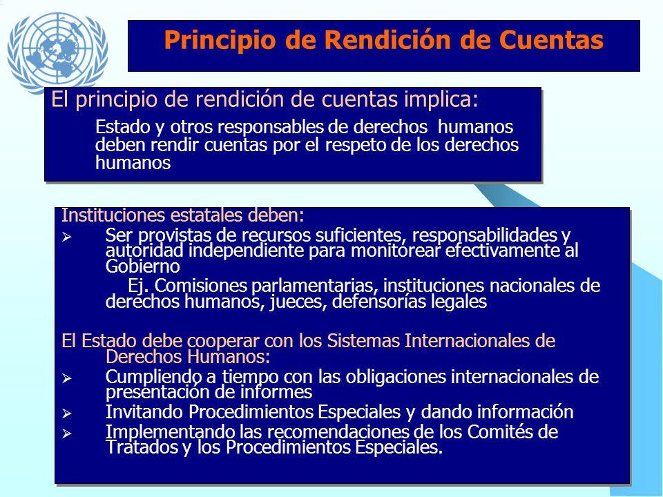 Principio de Participación Políticas, procesos y procedimientos deben permitir: Oportunidades de participación en planificación y desarrollo Acceso a