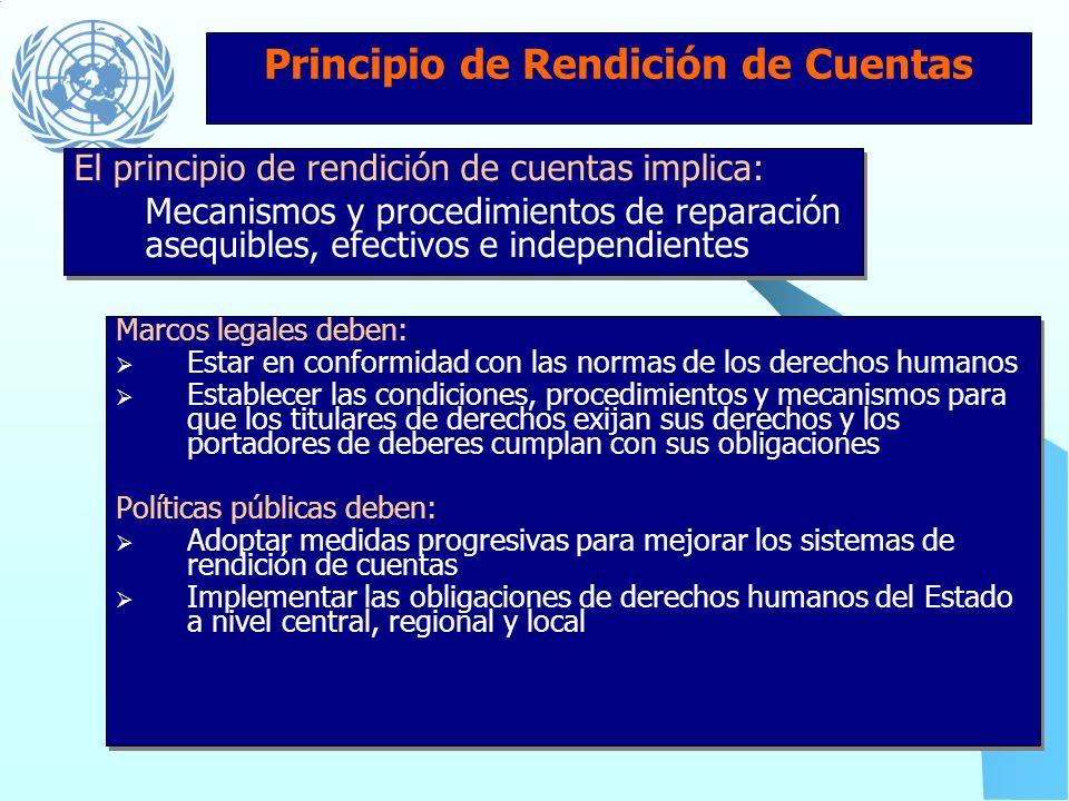 Principio de Rendición de Cuentas Instituciones estatales deben: Ser provistas de recursos suficientes, responsabilidades y autoridad independiente pa