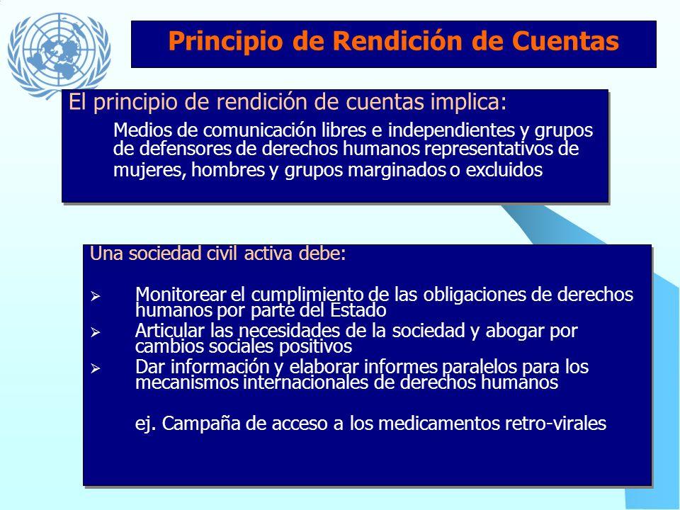 Principio de Rendición de Cuentas Marcos legales deben: Estar en conformidad con las normas de los derechos humanos Establecer las condiciones, proced