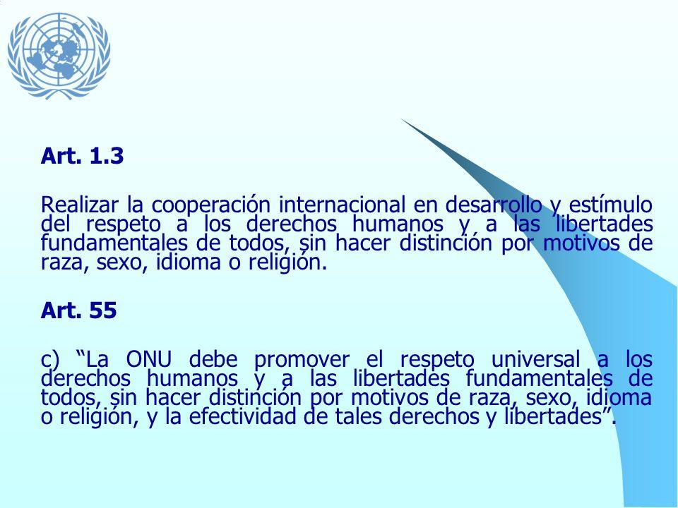 La Carta de las Naciones Unidas (1945) Los derechos humanos representan las bases del mandato de las Naciones Unidas y son elementos fundamentales par