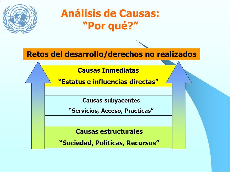 Análisis de Causalidad Por qué? Identifica las causas inmediatas, subyacentes y estructurales que originan el problema de desarrollo. Dichos problemas