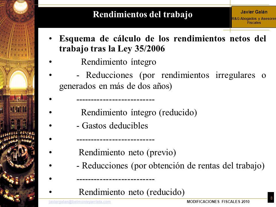 Javier Galán R&G Abogados y Asesores Fiscales 8 javiergalan@belmonteyarrieta.comjaviergalan@belmonteyarrieta.comMODIFICACIONES FISCALES 2010 Esquema d