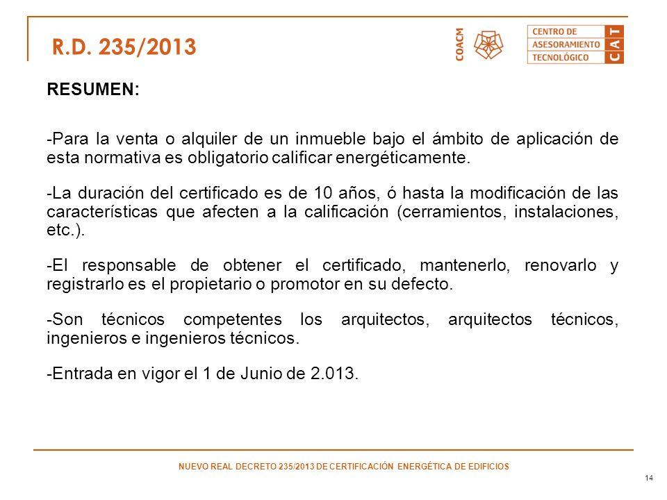 14 RESUMEN: -Para la venta o alquiler de un inmueble bajo el ámbito de aplicación de esta normativa es obligatorio calificar energéticamente. -La dura