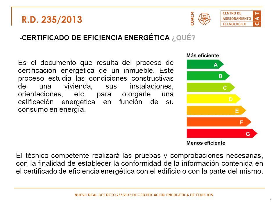 4 -CERTIFICADO DE EFICIENCIA ENERGÉTICA ¿QUÉ? R.D. 235/2013 NUEVO REAL DECRETO 235/2013 DE CERTIFICACIÓN ENERGÉTICA DE EDIFICIOS Es el documento que r