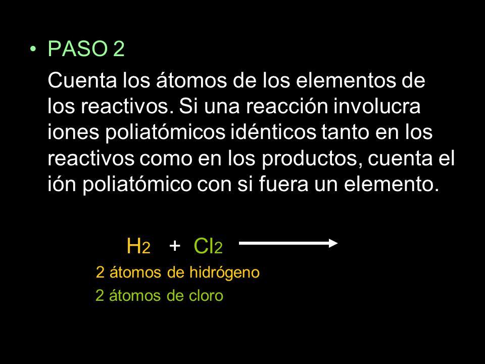 PASO 2 Cuenta los átomos de los elementos de los reactivos.