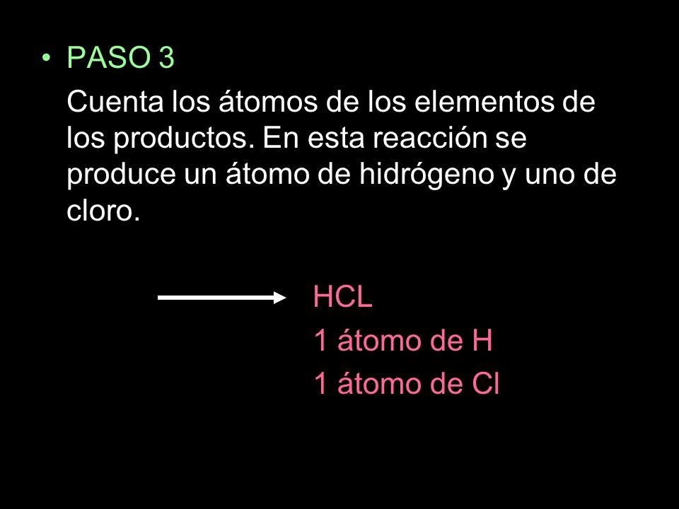 PASO 3 Cuenta los átomos de los elementos de los productos.