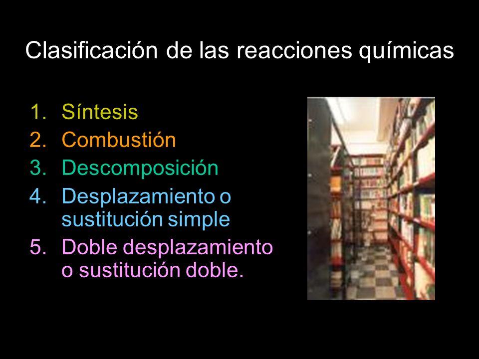 Clasificación de las reacciones químicas 1.Síntesis 2.Combustión 3.Descomposición 4.Desplazamiento o sustitución simple 5.Doble desplazamiento o sustitución doble.