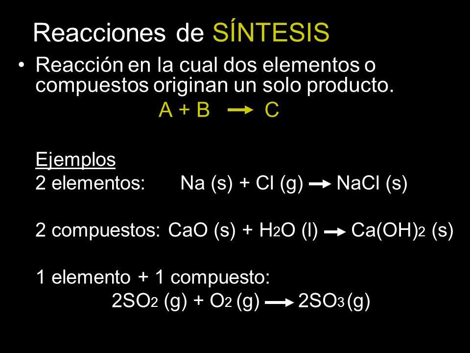 Reacciones de SÍNTESIS Reacción en la cual dos elementos o compuestos originan un solo producto.