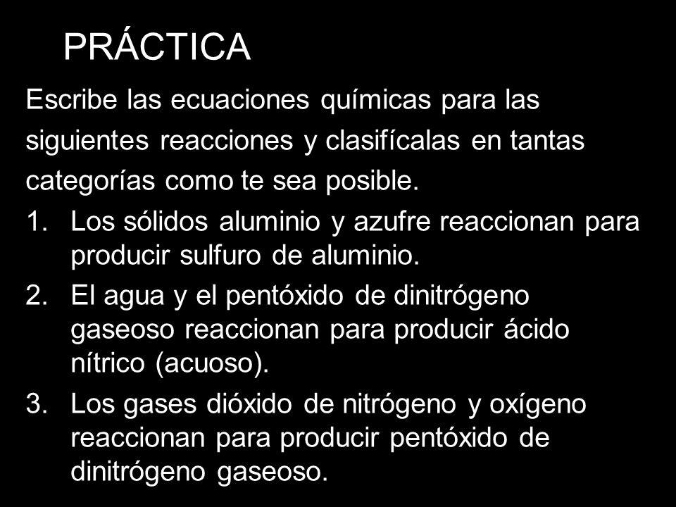 PRÁCTICA Escribe las ecuaciones químicas para las siguientes reacciones y clasifícalas en tantas categorías como te sea posible.