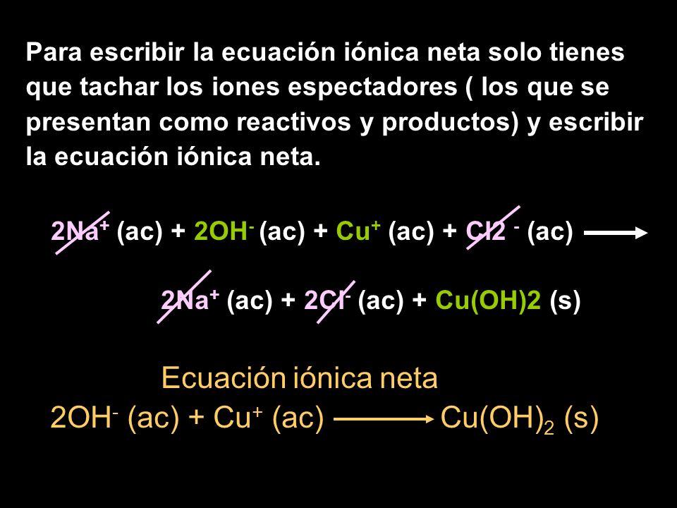 Para escribir la ecuación iónica neta solo tienes que tachar los iones espectadores ( los que se presentan como reactivos y productos) y escribir la ecuación iónica neta.
