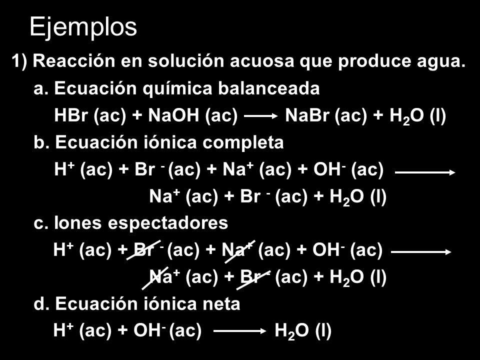 Ejemplos 1) Reacción en solución acuosa que produce agua.