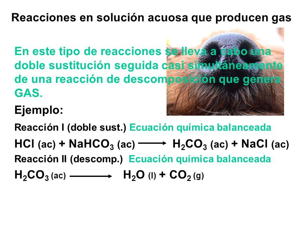 Reacciones en solución acuosa que producen gas En este tipo de reacciones se lleva a cabo una doble sustitución seguida casi simultáneamente de una reacción de descomposición que genera GAS.