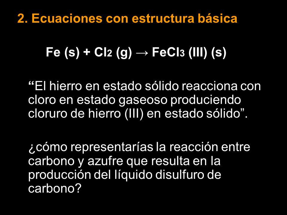 2. Ecuaciones con estructura básica Fe (s) + Cl 2 (g) FeCl 3 (III) (s) El hierro en estado sólido reacciona con cloro en estado gaseoso produciendo cl