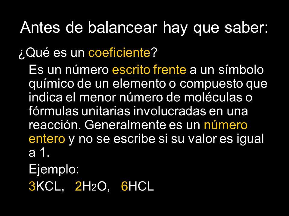 Antes de balancear hay que saber: ¿Qué es un coeficiente.
