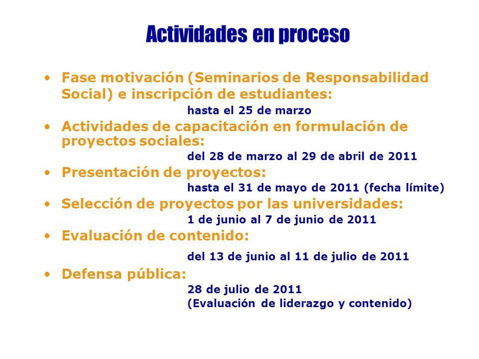 Actividades en proceso Fase motivación (Seminarios de Responsabilidad Social) e inscripción de estudiantes: hasta el 25 de marzo Actividades de capaci