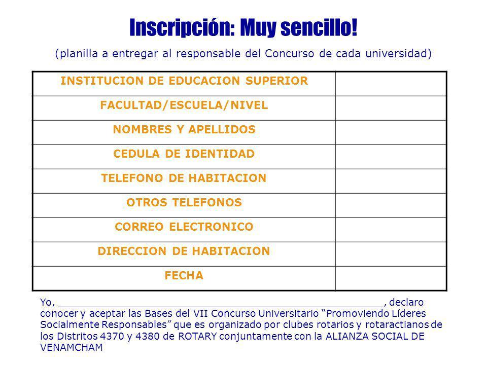 Inscripción: Muy sencillo! (planilla a entregar al responsable del Concurso de cada universidad) INSTITUCION DE EDUCACION SUPERIOR FACULTAD/ESCUELA/NI