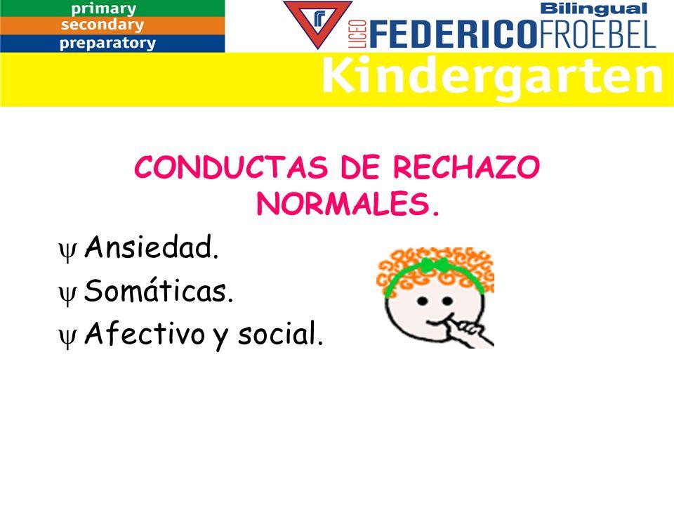 CONDUCTAS DE RECHAZO NORMALES. Ansiedad. Somáticas. Afectivo y social.