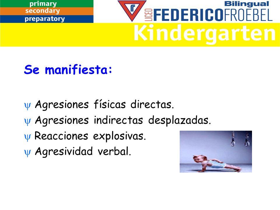 Se manifiesta: Agresiones físicas directas. Agresiones indirectas desplazadas. Reacciones explosivas. Agresividad verbal.