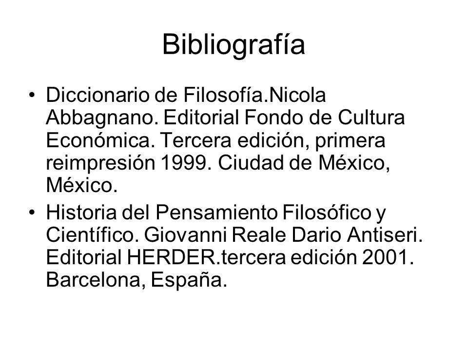 Bibliografía Diccionario de Filosofía.Nicola Abbagnano.