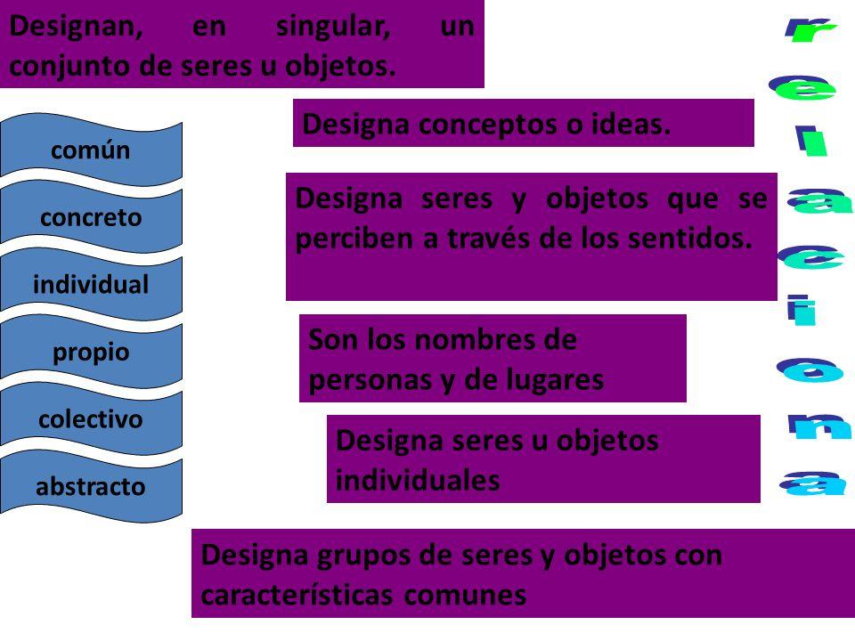 Designan, en singular, un conjunto de seres u objetos. Designa conceptos o ideas. Designa seres y objetos que se perciben a través de los sentidos. So