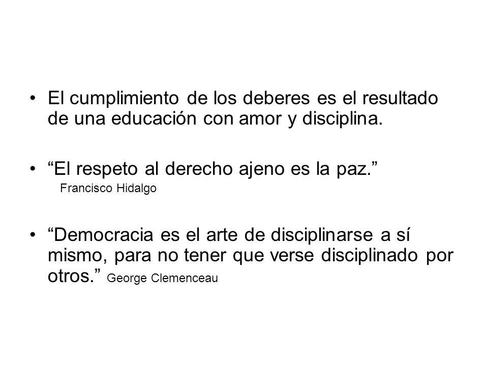 El cumplimiento de los deberes es el resultado de una educación con amor y disciplina. El respeto al derecho ajeno es la paz. Francisco Hidalgo Democr