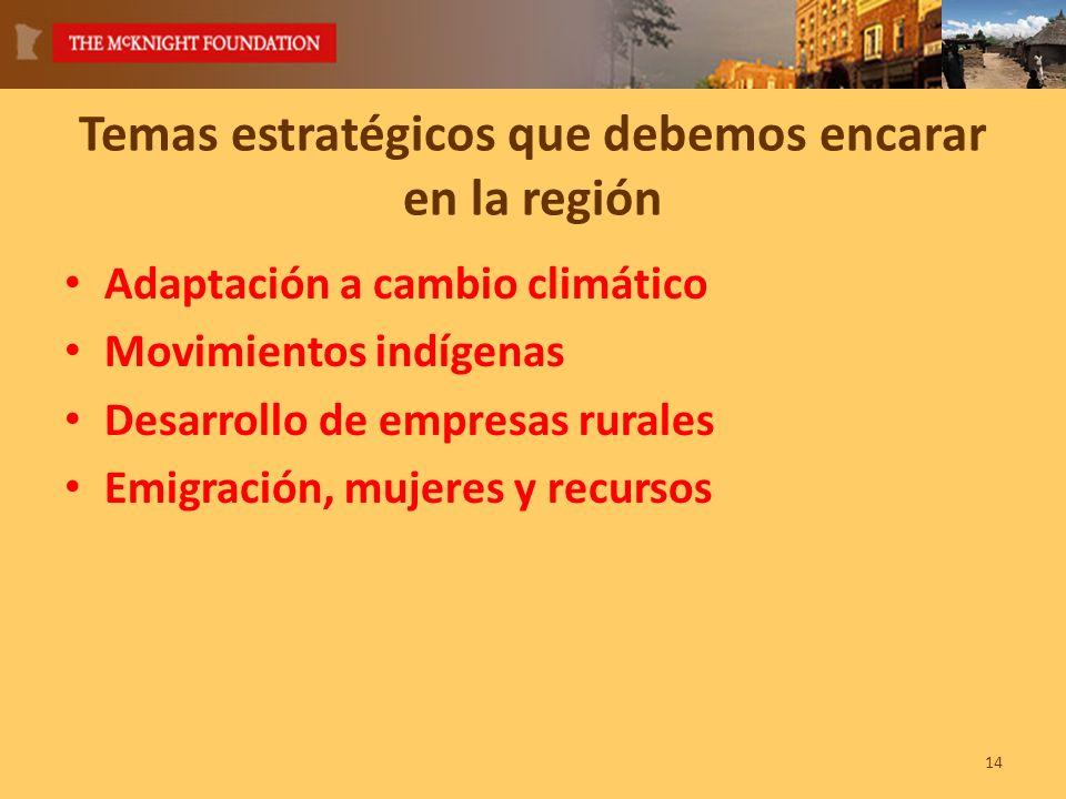 14 Temas estratégicos que debemos encarar en la región Adaptación a cambio climático Movimientos indígenas Desarrollo de empresas rurales Emigración, mujeres y recursos