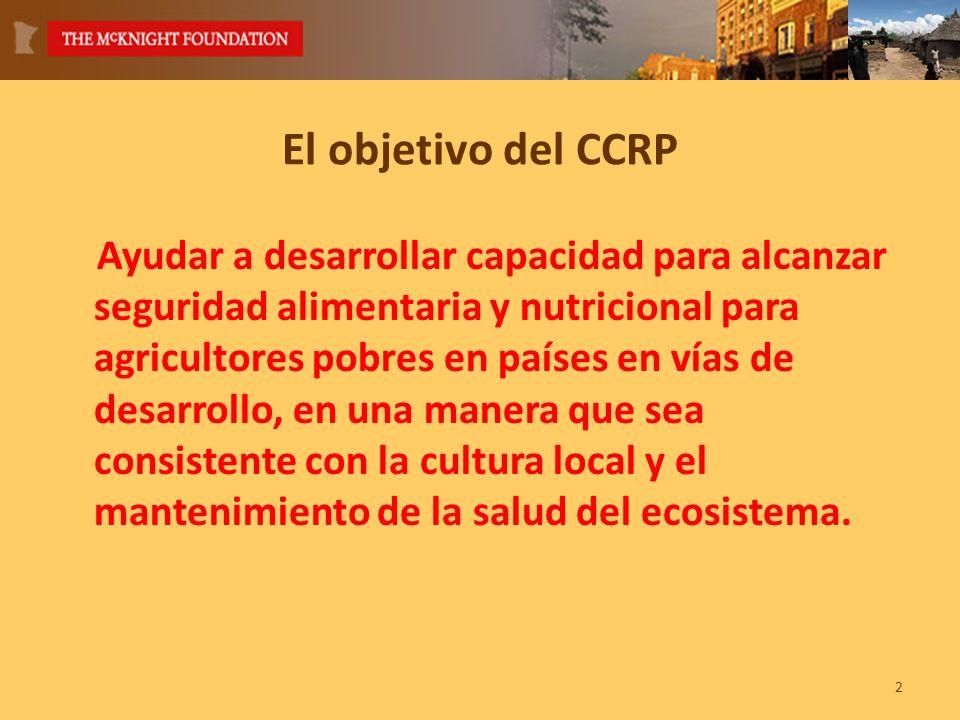 El objetivo del CCRP Ayudar a desarrollar capacidad para alcanzar seguridad alimentaria y nutricional para agricultores pobres en países en vías de desarrollo, en una manera que sea consistente con la cultura local y el mantenimiento de la salud del ecosistema.