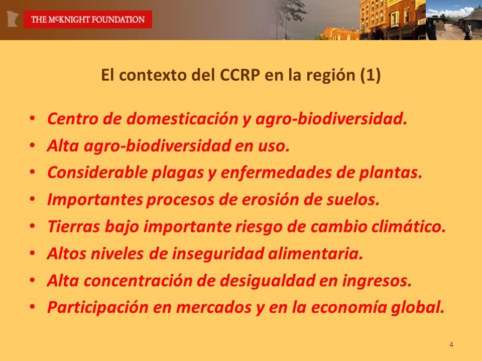 4 El contexto del CCRP en la región (1) Centro de domesticación y agro-biodiversidad.